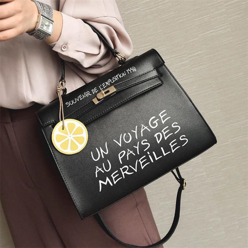 Costbuys  Letter Printed Handbags For Women High Quality PU Leather Girls Shoulder Bags Female Crossbody Bags Casual Totes For L