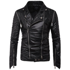Spring Autumn Casual Jacket Punk Style Biker Motorcycle Faux PU Leather coat M-5XL