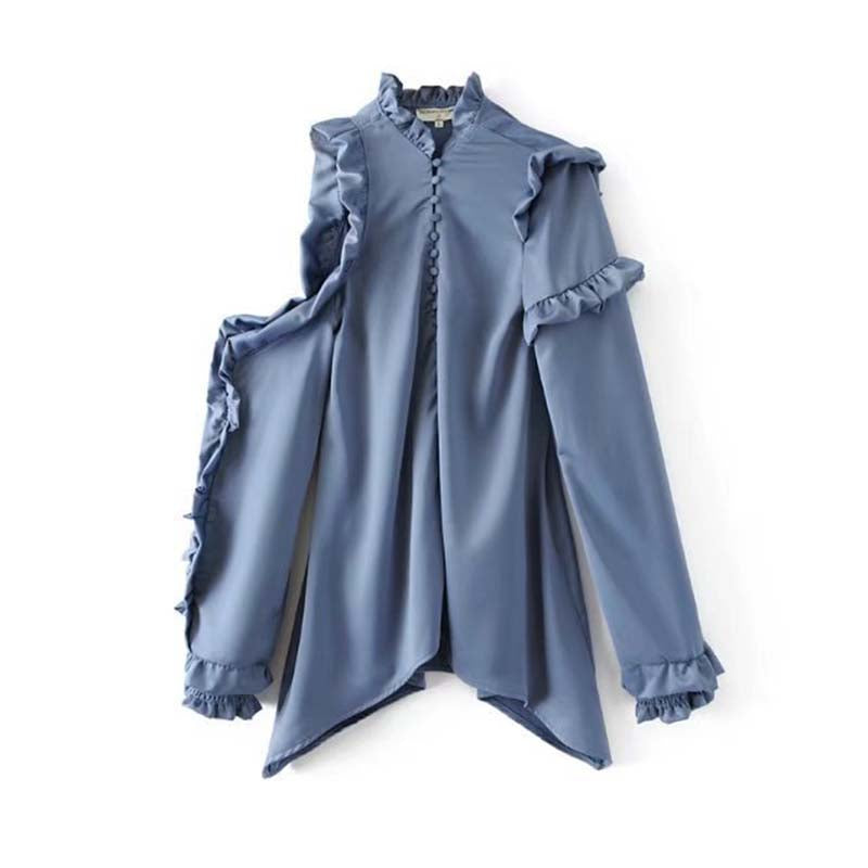 Costbuys  Long Sleeve Silk Shirts Plus Size Women Tops Feminine Blouse Solid Blue Shirts Office Lady Women Blouses - Sky Blue /