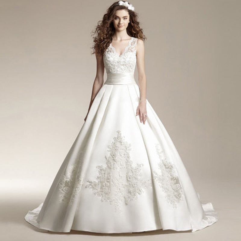 Long Train Satin Embroidery Lace Wedding Dress New Arrival V-Neck ...