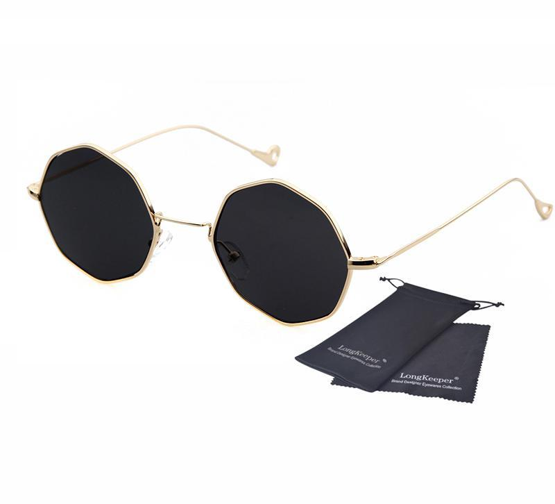 0413a1dda8859 New Fashion Brand Design Octagonal Sunglasses Women Black Gold Sun glasses  For Men Eyewares UV400 gafas De Sol