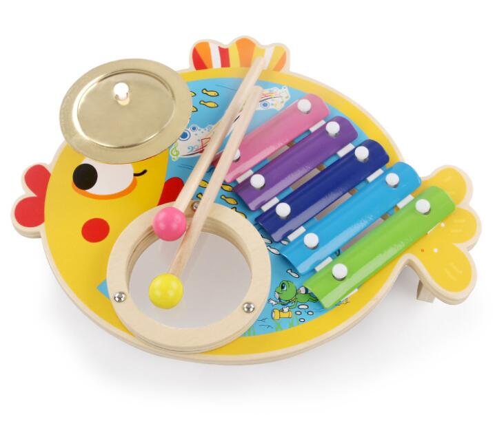Costbuys  Lovely Fish Xylophone Drum Set Toddler Learning Toys Percussion Musical Instruments For Children - Multicolor