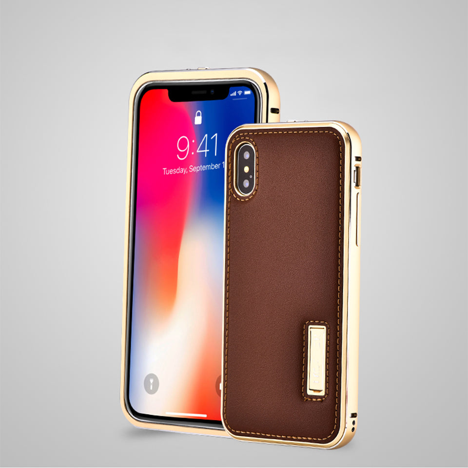 Luxury Genuine Leather Metal Frame Magnetic Flip Case For iPhone X Cover Coque Original Cell Phone Case Accessories For iPhone X