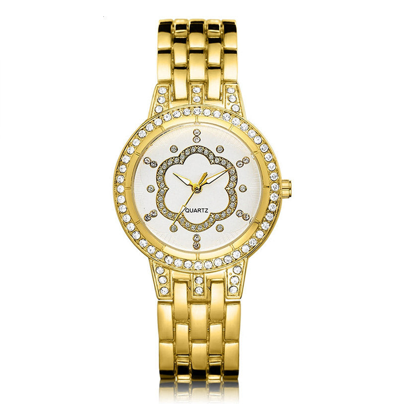 Costbuys  Luxury Women Fashion Metal Bracelet Quartz Bracelet Gold Crystal Diamond Wrist Watch 80607 ZHE - White