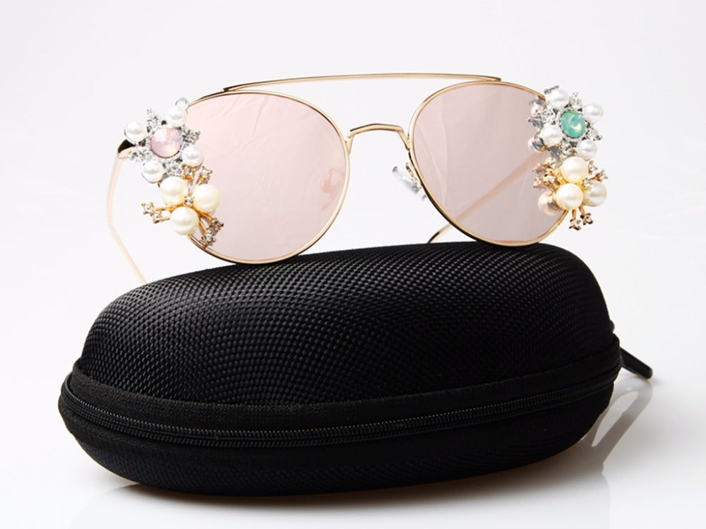 Costbuys  Luxury Women Sunglasses Original Brand Design Crystal Reflective Coating Mirror Pink Sunglasses Vintage Sun Glasses Wi