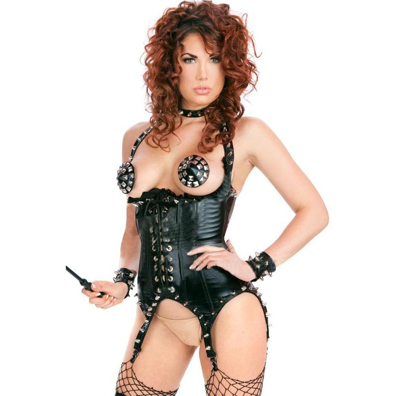 29346d9a19 Erotic Underwear Steampunk Clothing Gothic Women Underbust Corset Sexy  Black Faux Leather Corsets And Bustiers With Rivets