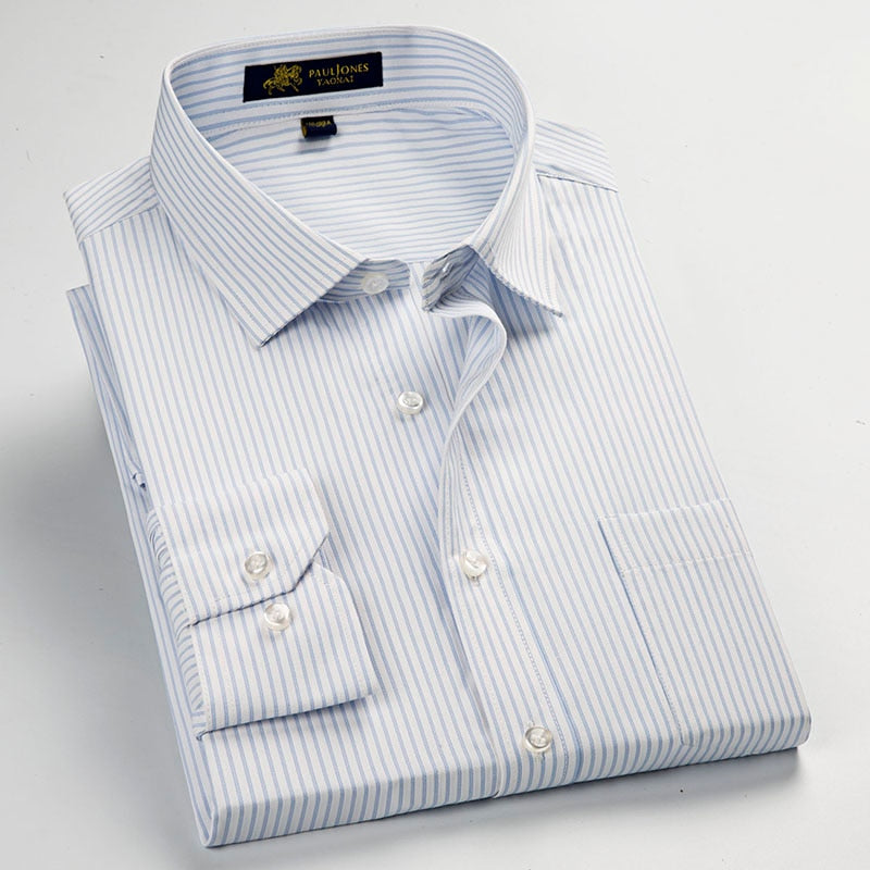 Men's Striped Formal Dress Shirts Male Business Social Shirts Classic Design