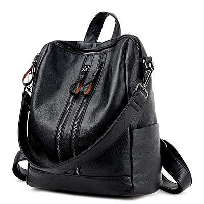 Costbuys  Leather Backpack Women Bags Fashion Casual Women Backpack For Teenage Girls Travel Backpack Famous Mochil - Black / Ch