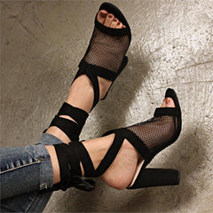 Female Sandals Sexy Cross Strap High Heels For Woman Mesh Sandals Women Peep Toe Plus Size Ladies Summer Shoes