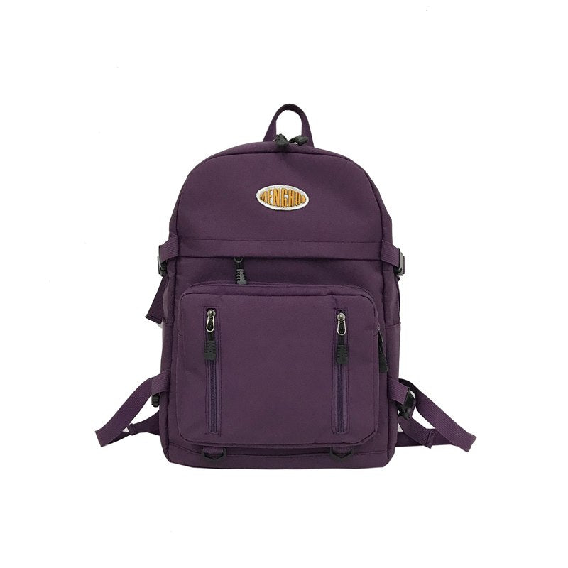 Costbuys  Women Backpack Waterproof Nylon School Backpacks for Teenage Girls Shoulder Bag Large Capacity Travel Bags - Purple /