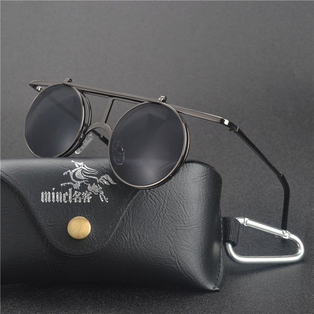 Costbuys  Steam Punk Gothic Vintage Clamshell Sunglasses Personality Clamshell Glasses Metal Punk Sun glasses With box  LXL - gu