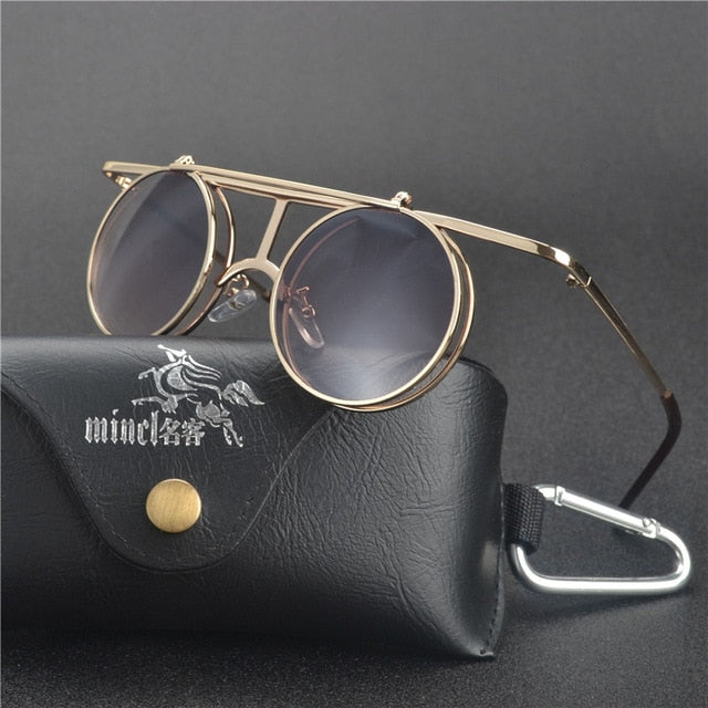 Costbuys  Steam Punk Gothic Vintage Clamshell Sunglasses Personality Clamshell Glasses Metal Punk Sun glasses With box  LXL - go