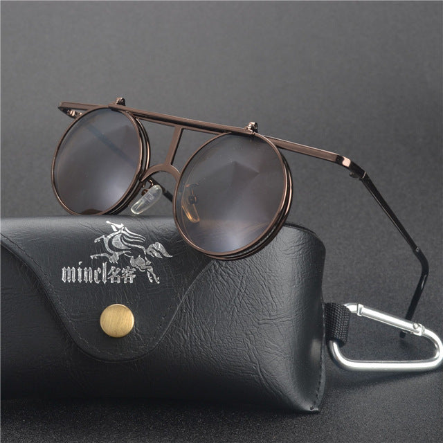 Costbuys  Steam Punk Gothic Vintage Clamshell Sunglasses Personality Clamshell Glasses Metal Punk Sun glasses With box  LXL - te