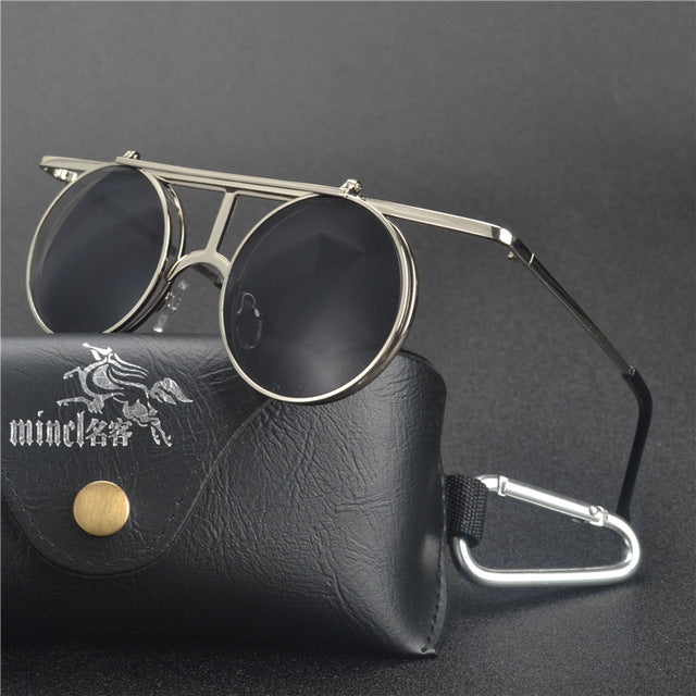 Costbuys  Steam Punk Gothic Vintage Clamshell Sunglasses Personality Clamshell Glasses Metal Punk Sun glasses With box  LXL - si