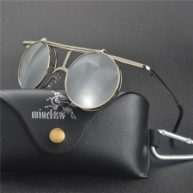 Costbuys  Steam Punk Gothic Vintage Clamshell Sunglasses Personality Clamshell Glasses Metal Punk Sun glasses With box  LXL - Me