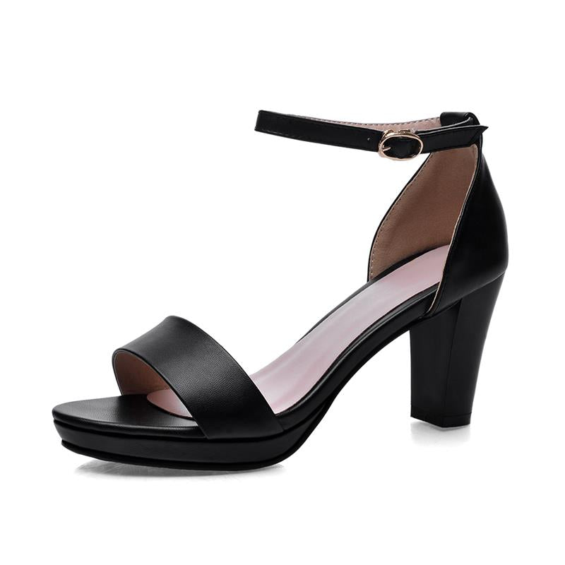 Costbuys  fashion thick high heels open toe woman sandals high quality pu leather black red shoes woman - Black / 11