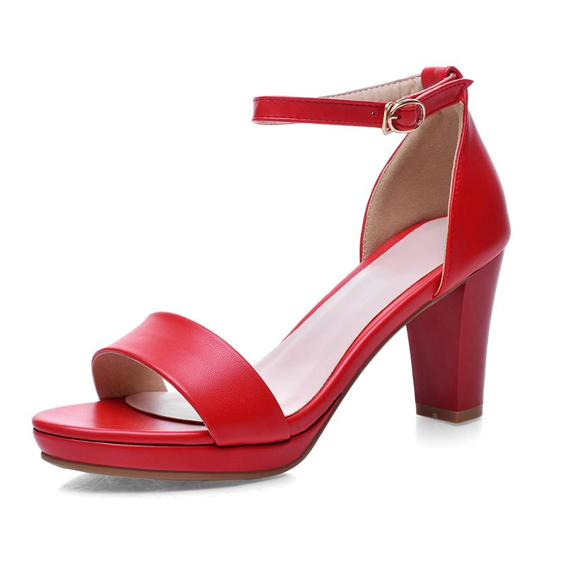 Costbuys  fashion thick high heels open toe woman sandals high quality pu leather black red shoes woman - Red / 11