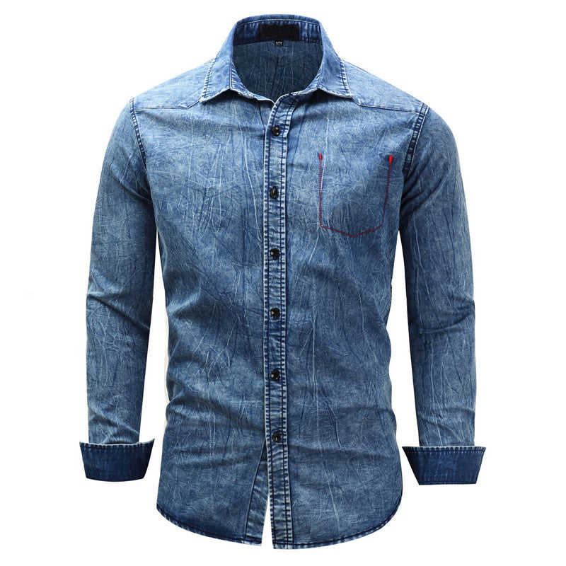 Costbuys  Casual Denim Shirts Washed Jean Shirts For Man 100% Cotton Cargo Tops Size M-3XL Black Blue Turn Down Collar - Blue /