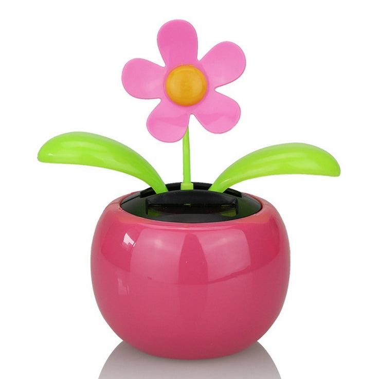 Costbuys  Car Ornaments Solar Power Plastic Car Flowerpot Flip Flower Plant Shaking Head Doll Toy Car Decoration Accessories - P