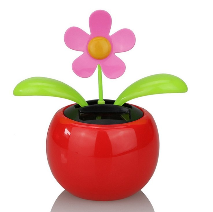 Costbuys  Car Ornaments Solar Power Plastic Car Flowerpot Flip Flower Plant Shaking Head Doll Toy Car Decoration Accessories - R