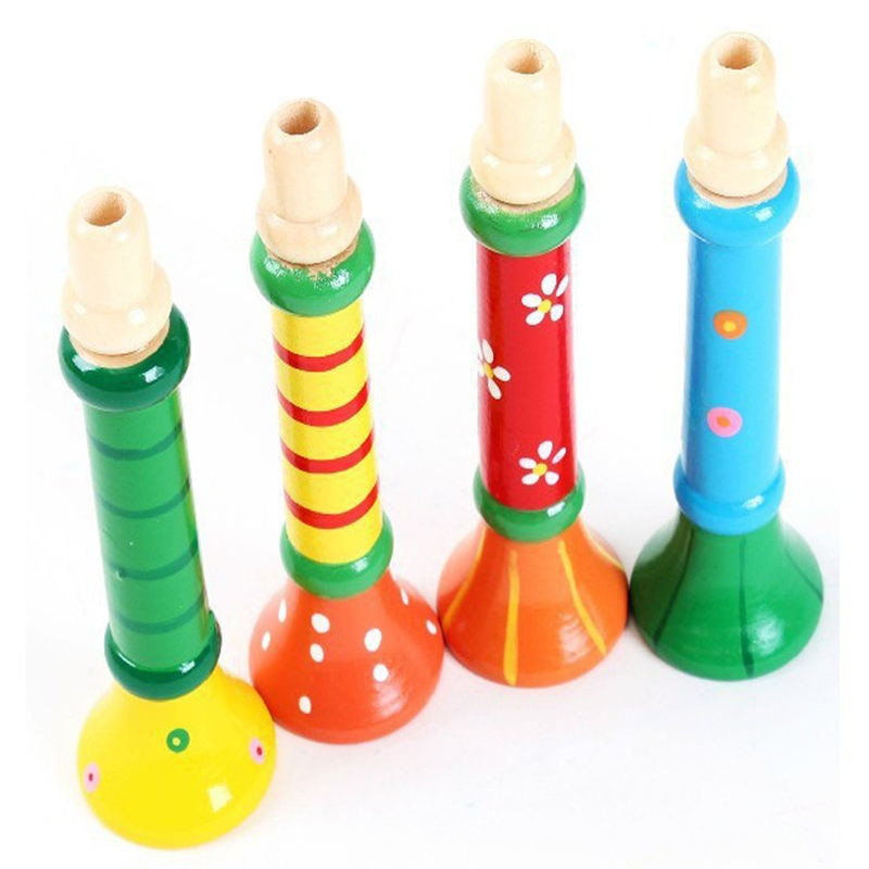 Costbuys  Kids Toy For Baby Boys Girls Multi-Color Baby kids Wooden Horn Hooter Trumpet Instruments Music Toys - China / Multico