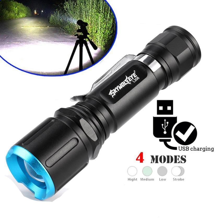 Costbuys  Super Brigh Zoom L2 LED USB Charging Rechargeable 18650 Flashlight Torch LightZoomable CREE LED Torch light for Batter