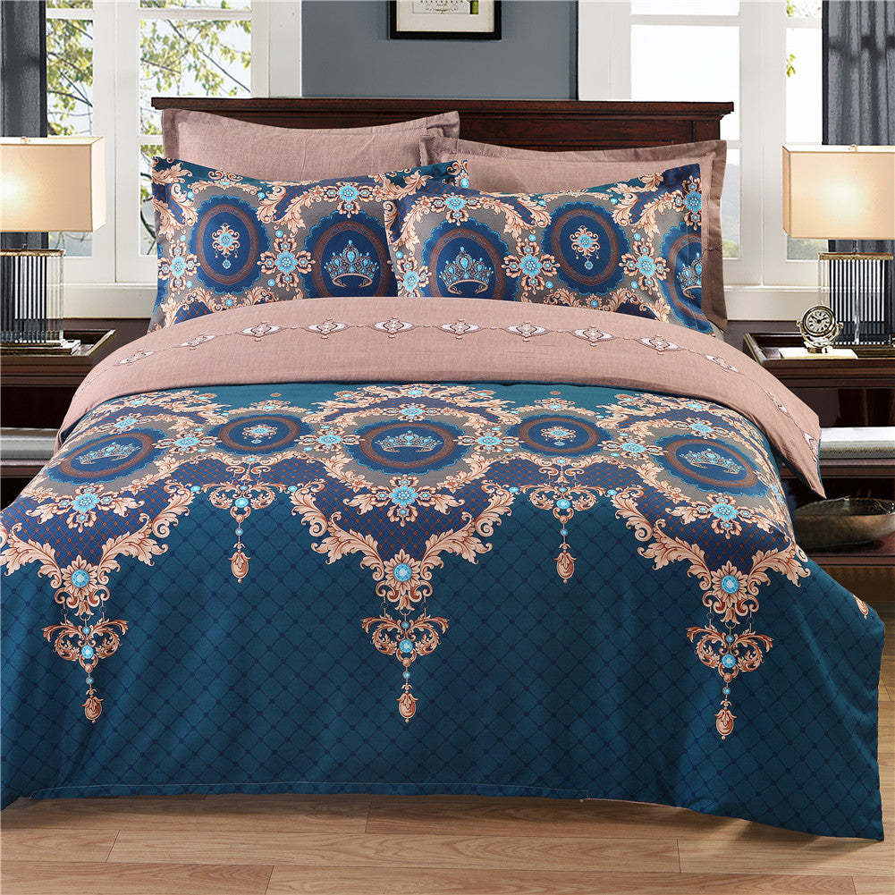 Costbuys  Bohemian Bed Duvet Cover Set Luxury European Comforter Cheap Bedding Sets Floral Pattern Reversible Bedding Set King S