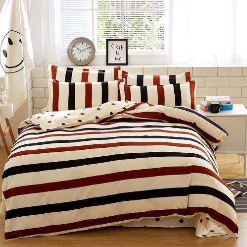 Costbuys  Home Textile Autumn Modern Striped Series Bed Linens 4pcs Cheap Bedding Sets Bed Set Duvet Cover Bed Sheet Mans Cover