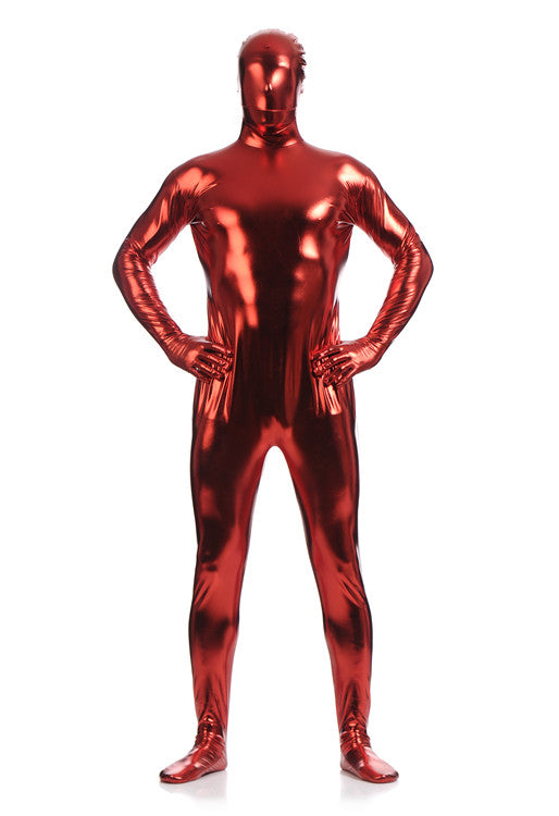 Full Body Shiny Bodysuit Silver Mens Plus Size Spandex Metallic Suit Lycra Costumes