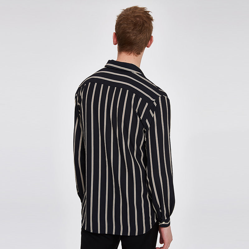 Men S Relco Black And White Stripe Longsleeve On Down 100 Cotton Shirt Co Uk Clothing
