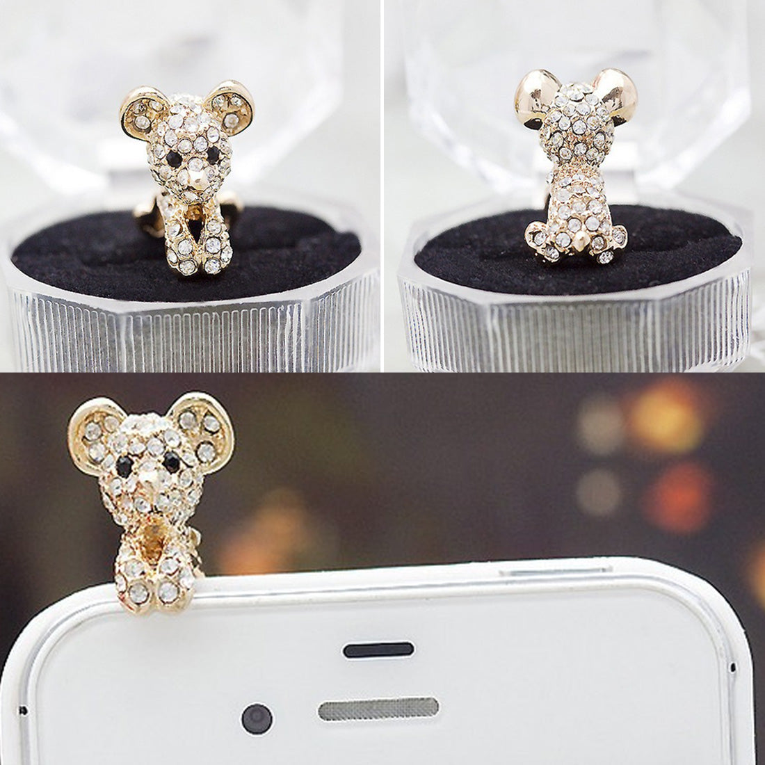 Costbuys  New Cute Dog Design Earphone Dust Plug Dustproof Plug Caps Cell Phone Accessories For all 3.5mm Earphone - White