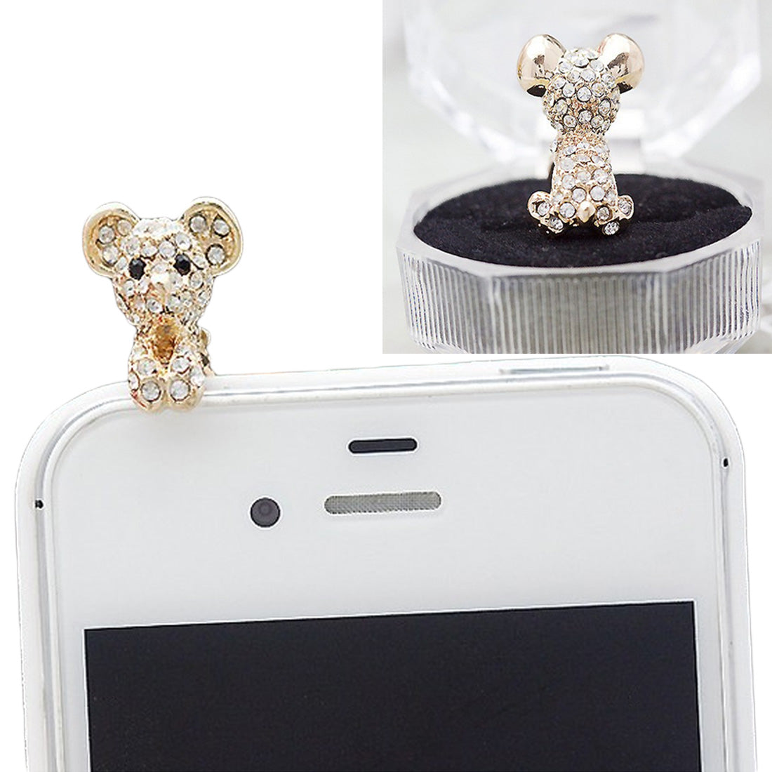 Costbuys  Newest Cute Dog Design Earphone Dust Plug Dustproof Plug Caps Cell Phone Accessories For all 3.5mm Earphone - White