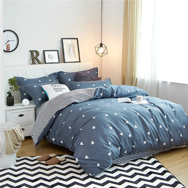 Costbuys  100% Polyester Bedding Set Duvet Cover Flat Sheet Bed Sheet Pillowcase Twin Full Qing King Size - aichao / Full