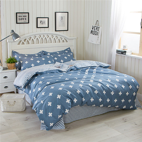Costbuys  100% Polyester Bedding Set Duvet Cover Flat Sheet Bed Sheet Pillowcase Twin Full Qing King Size - naweisi / Twin