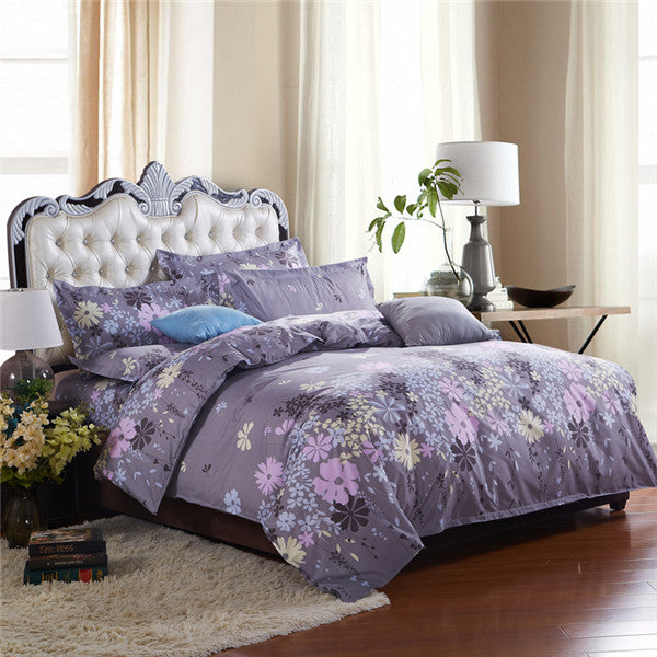 Costbuys  100% Polyester Bedding Set Duvet Cover Flat Sheet Bed Sheet Pillowcase Twin Full Qing King Size - midiexiang / Full