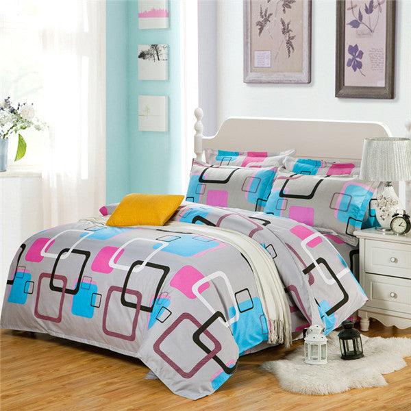 Costbuys  100% Polyester Bedding Set Duvet Cover Flat Sheet Bed Sheet Pillowcase Twin Full Qing King Size - caiyunge / Full