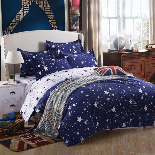 Costbuys  100% Polyester Bedding Set Duvet Cover Flat Sheet Bed Sheet Pillowcase Twin Full Qing King Size - liuxingyu / Full