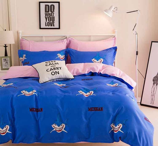 Costbuys  new geometric pattern polyester, bedding sets sales leader bedding king size double queen - Blue / Queen