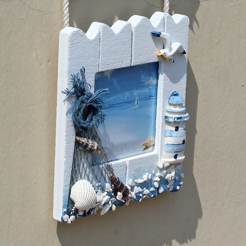 Costbuys  Mediterranean Home Decoration Wooden Frame Triple String Of Fish Starfish Photo Frame Wall Wood Photo Frame