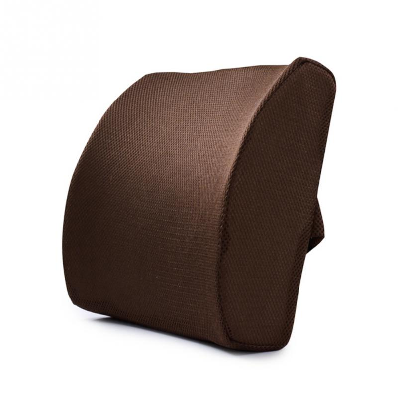 Costbuys  Memory Foam Lumbar Cushion Lower Back Support Pillow Posture Correcting Car Seat Home Office Chair - black