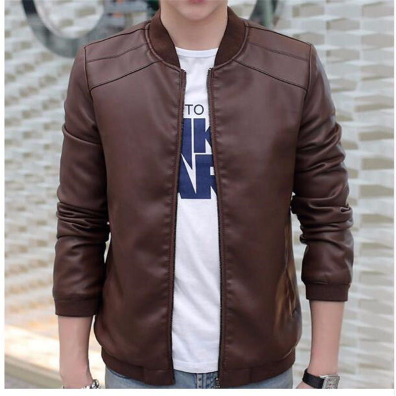 Costbuys  Men Faux Leather Jackets Coat Bomber Jacket Mens Pu Coats Baseball Jackets & Coats Outwear Winter - 1 / XL
