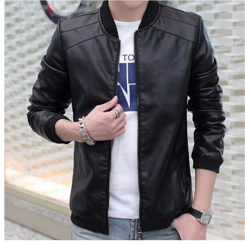 Costbuys  Men Faux Leather Jackets Coat Bomber Jacket Mens Pu Coats Baseball Jackets & Coats Outwear Winter - 2 / XL