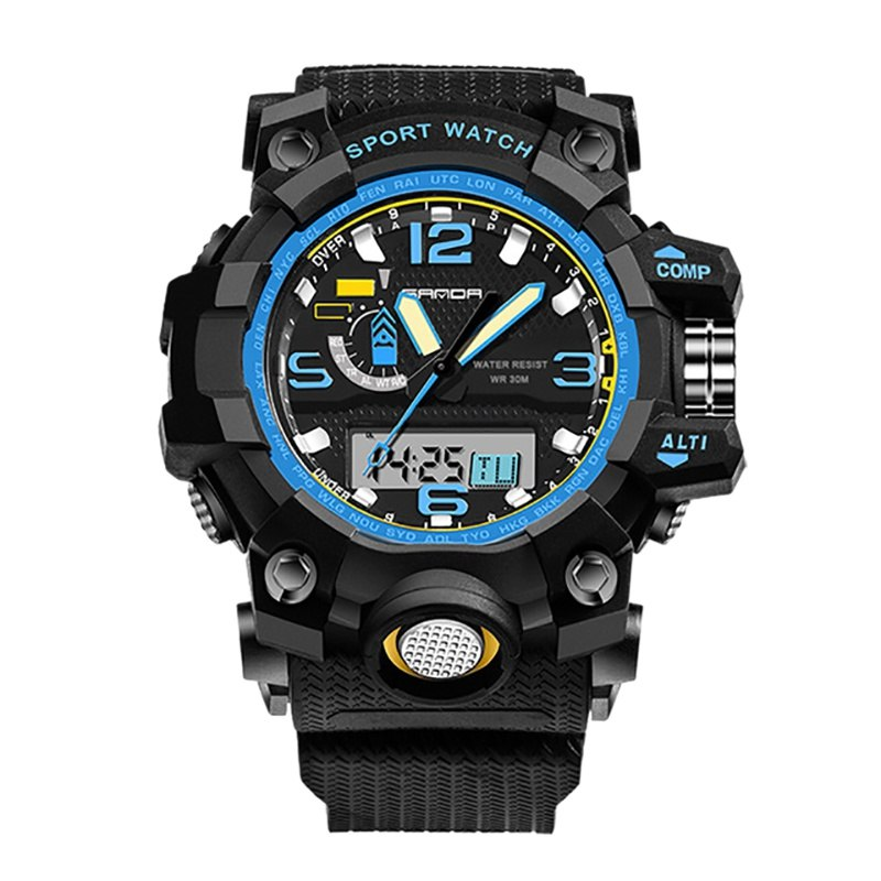 Costbuys  Men Women Digital Watch Multi Function 30 Meter Water Resistant Back Light Luminous Stopwatch Alarm Sports Watches - B