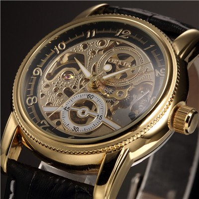 Costbuys  Men Wrist Watches Luxury Golden Skeleton Mechanical Steampunk Male Clock Automatic Wristwatch Leather Strap Herren Hor