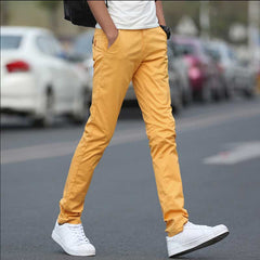Men's Casual Pants High Quality Stretch Cotton Pants Chinos Yellow Khaki Light Blue Black