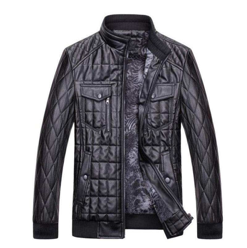 Men's Leather Jacket Fashion Stand Collar PU Coats Autumn Winter Male Suede Jackets Slim Mens Clothing