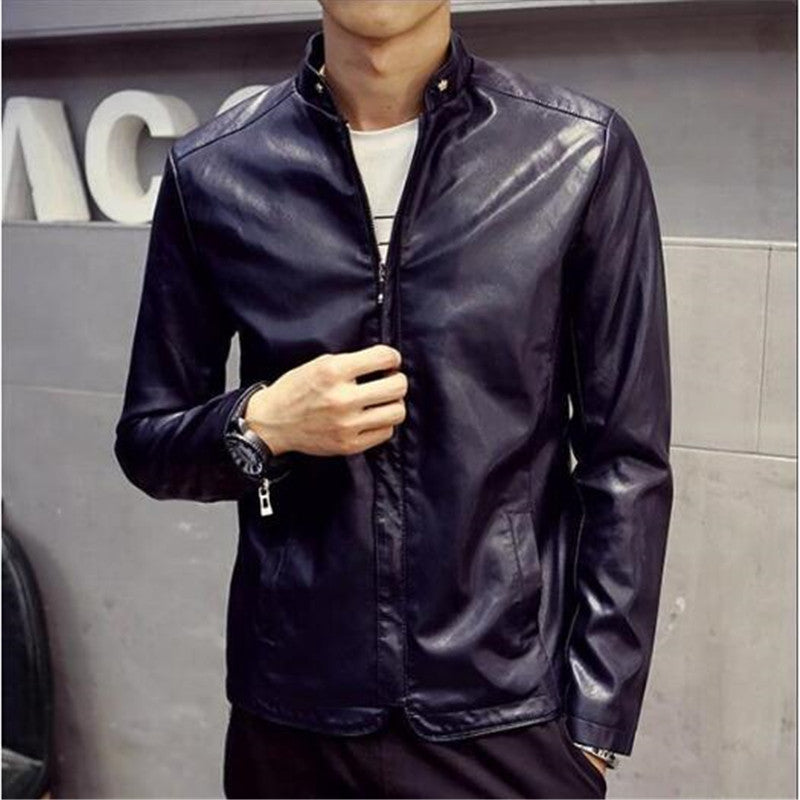 Costbuys  Men's Leather Jacket Fashion Trend Of Young Men And Women In Autumn And Winter Clothing PU Spring Coat - 1 / XL
