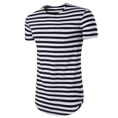 Men's O Neck T Shirt Men Summer Striped Curve Hem T Shirt Extended Longline Hipster T-shirt Streetwear Strip Hip Hop Top Tee XXL