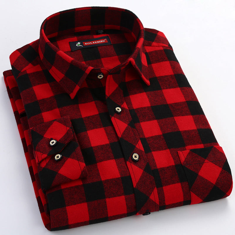 Men's Red/black  Checked Brushed Shirt with Chest Pocket Casual Long Sleeve Slim-fit Button Down