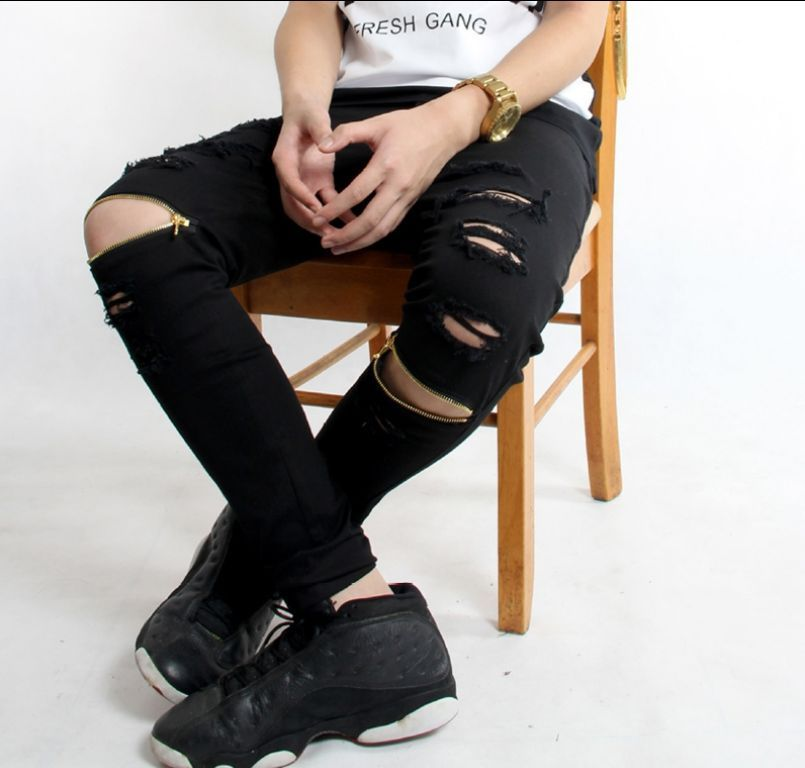 84e1382b593 Men s Vintage Ripped Jeans Distressd Slim Straight Denim Pants Zipper  Trousers F9